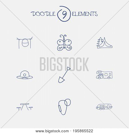 Set Of 9 Editable Travel Doodles. Includes Symbols Such As Camper, Picnic, Carabine And More