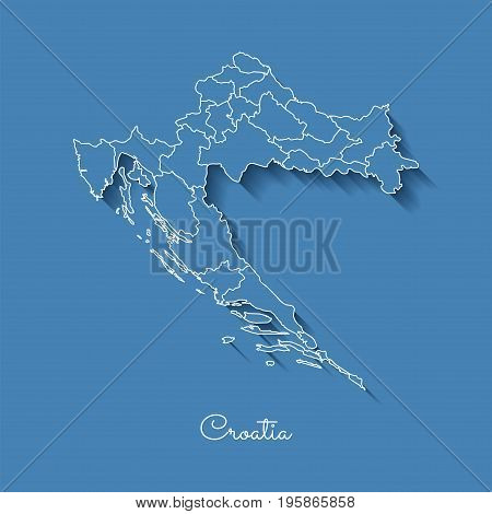 Croatia Region Map: Blue With White Outline And Shadow On Blue Background. Detailed Map Of Croatia R