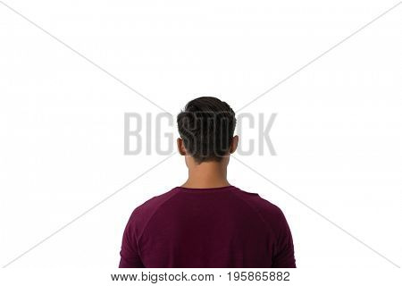 Rear view of businessman standing against white background