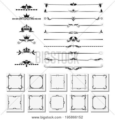 A set of design elements, frames, dividers, borders. Vector illustration for design of pages.