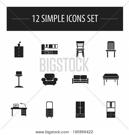 Set Of 12 Editable Interior Icons. Includes Symbols Such As Enlightenment, Seat, Cabinet And More