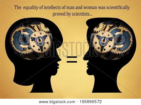 The male and female heads is filled with gears on gold background. The education, idea or technology concept. Concept of Equality of intellects