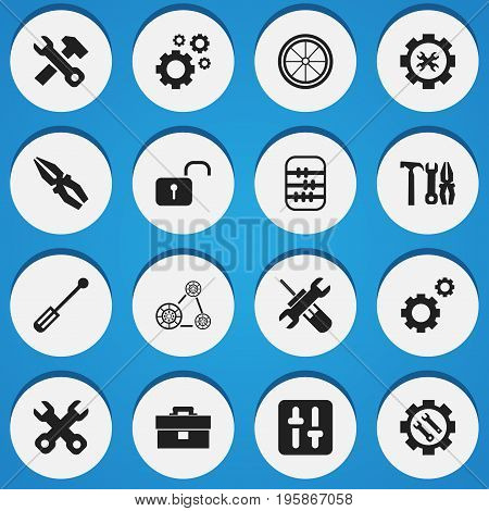 Set Of 16 Editable Tool Icons. Includes Symbols Such As Settings, Spanner, Fix Tool And More