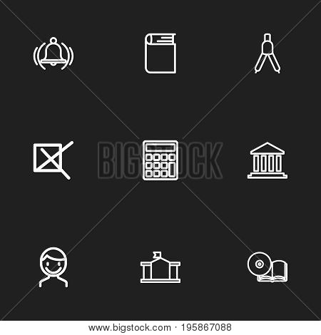 Set Of 9 Editable Science Outline Icons. Includes Symbols Such As Dividers, School, Mark And More