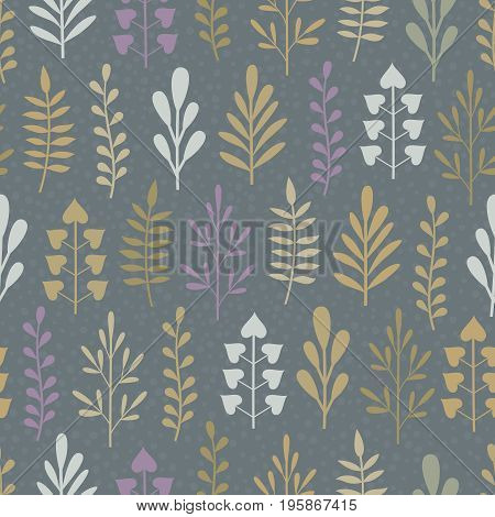 Seamless background with abstract different plants in white lilac beige and khaki colors on dark grey backdrop