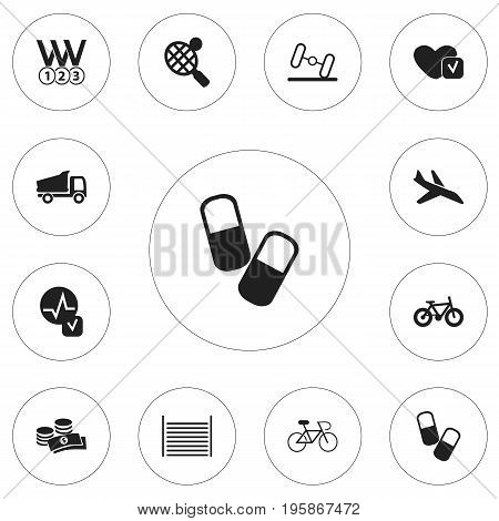Set Of 12 Editable Complicated Icons. Includes Symbols Such As Plane, Velocipede, Racket And More
