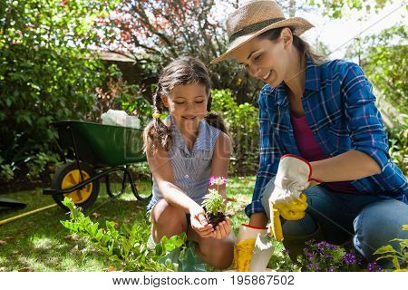 Smiling mother teaching daughter to plant seedlings while gardening in backyard