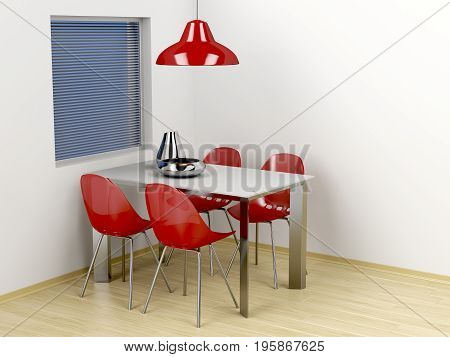 3D illustration of dining room with modern furniture