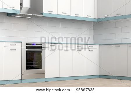 Kitchen equipped with modern electric cooker and range hood, 3D illustration