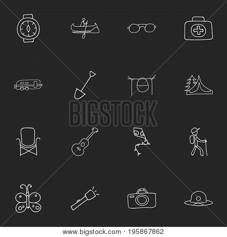 Set Of 16 Editable Trip Doodles. Includes Symbols Such As Camper, Medical Kit, Beauty Insect And More