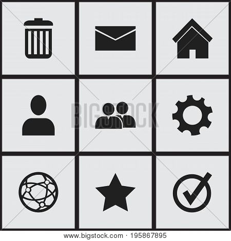 Set Of 9 Editable Web Icons. Includes Symbols Such As Settings, Approved, Home And More