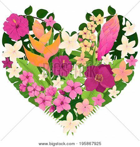 Heart Design with Tropical Leaves Bright Pink and Yellow Flowers