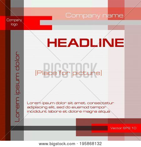 Geometric technoligy background, minimalistic template, dark red, gray, square. Modern layout design with text, for covers, annual reports, business presentations, brochures, prospectuses, posters, flyers. EPS10 vector illustration