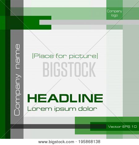 Geometric technoligy background, modern minimalistic template, green, gray, square. Layout cover design with text for annual report, business presentation, brochure, prospectus, poster. EPS10 vector illustration