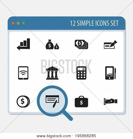 Set Of 12 Editable Finance Icons. Includes Symbols Such As Line Chart, Bill, Banknote And More