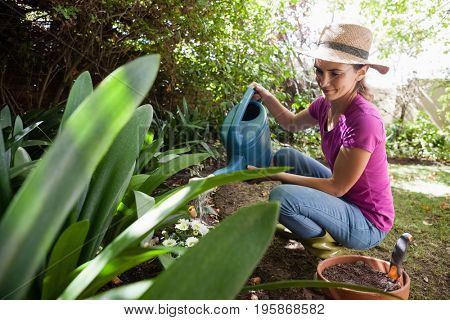 Smiling woman watering plants with can while crouching in backyard