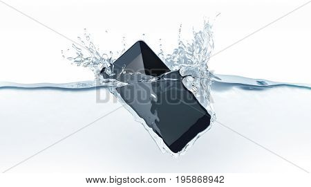 Black modern smartphone fall in water 3d rendering. Mobile smart phone with touch screen mockup sink under liquid surface. Electronic waterproof cellphone falling and dive with splashes.