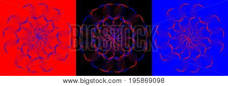 Abstract flower composition on red black and blue background with color strokes.