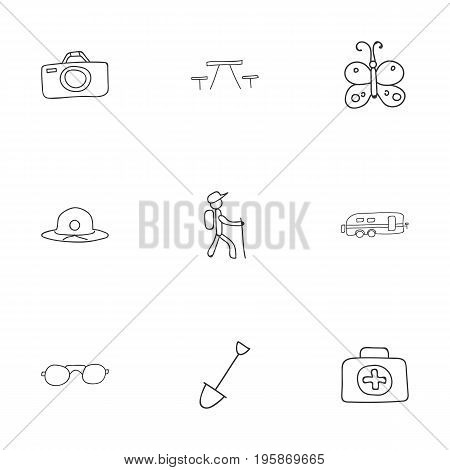 Set Of 9 Editable Camping Doodles. Includes Symbols Such As Photographing, Medical Kit, Shovel And More