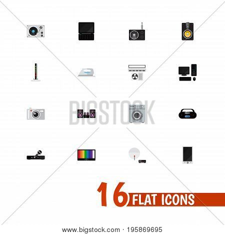 Set Of 16 Editable Home Flat Icons. Includes Symbols Such As Screen, Microphone, Laundromat And More