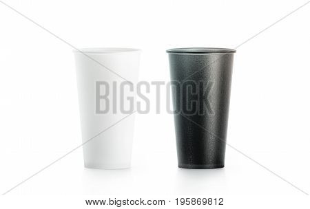 Blank big black and white disposable paper cup mock up isolated 3d rendering. Empty polystyrene coffee drinking mug mockup front view. Clear tea take away plastic package cofe branding template.