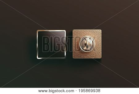 Blank gold enamel pin black mock up front and back side view 3d rendering. Empty luxury hard lapel badge mockup. Golden clasp-pin design template. Matal square brooch for logo presentation.