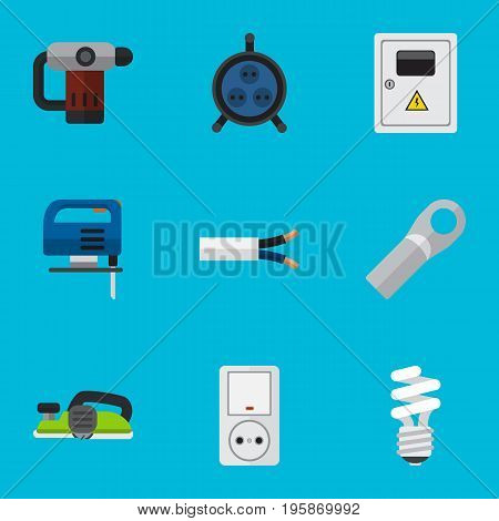 Set Of 9 Editable Electric Flat Icons. Includes Symbols Such As Jig Saw, Receptacle, Cable And More