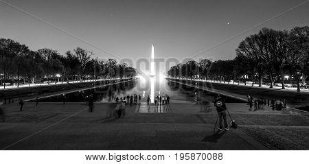 Reflecting Pool with Washington Monument at night