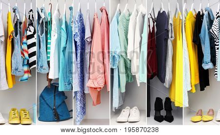 Collage of fashionable clothes hanging in wardrobe
