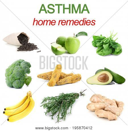 Text ASTHMA HOME REMEDIES and collage of healthy products on white background