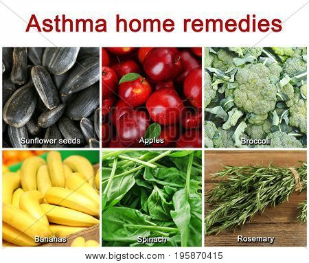 Text ASTHMA HOME REMEDIES and collage of healthy products