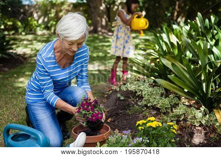 Smiling senior woman planting flowers while granddaughter watering plants at backyard