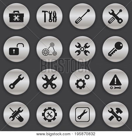 Set Of 16 Editable Repair Icons. Includes Symbols Such As Opened Padlock, Build Equipment, Technical Support And More