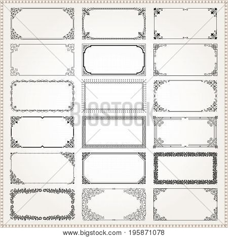 Decorative vintage frames borders backgrounds rectangle 2x1 proportions set 2 vector