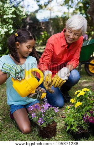 Smiling senior woman looking at girl watering flowers at backyard