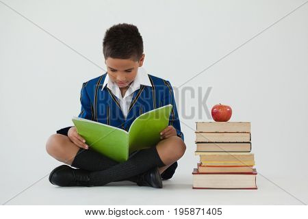 Attentive schoolboy studying against white background