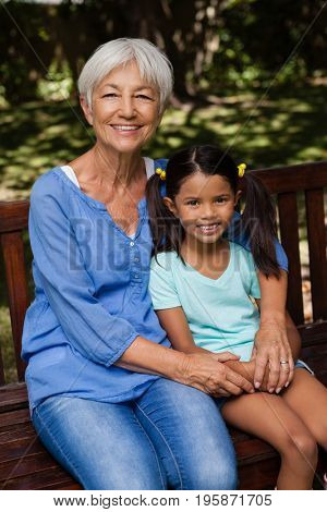 Portrait of granddaughter and senior woman sitting on wooden bench at backyard