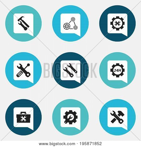 Set Of 9 Editable Service Icons. Includes Symbols Such As Cambelt, Service, Support Center And More