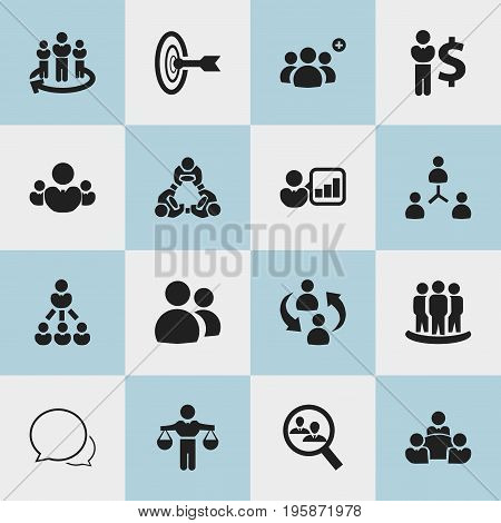 Set Of 16 Editable Team Icons. Includes Symbols Such As Human Resouces, Corporate, Friendship And More