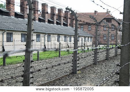 Classic view of the Auschwitz, the Field of Concentration in Poland
