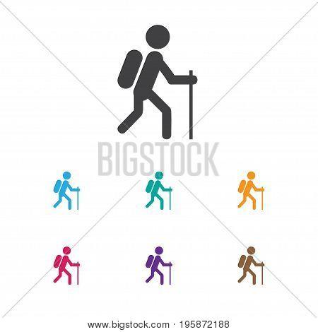 Vector Illustration Of Travel Symbol On Hiking Icon