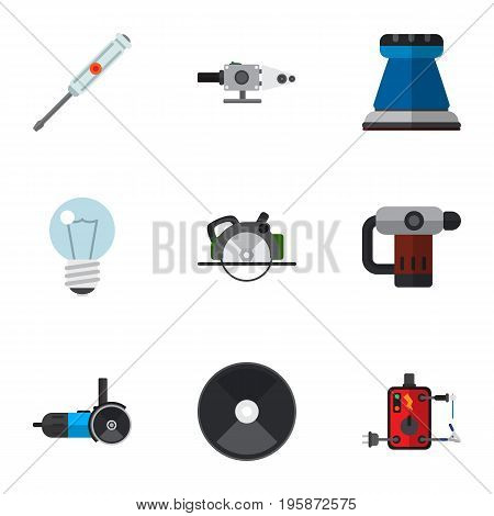 Set Of 9 Editable Electrical Flat Icons. Includes Symbols Such As Grinding Machine, Blowpipe, Buzzsaw And More