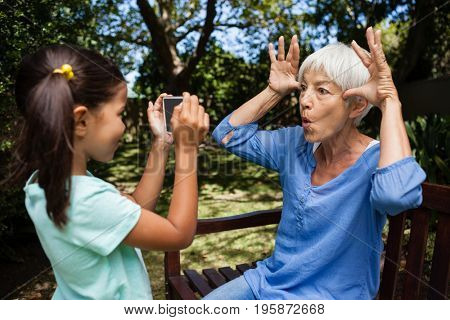 Side view of girl taking photograph of grandmother making faces on bench at backyard