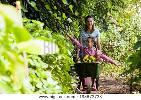 Smiling woman pushing girl sitting with outstretched in wheelbarrow on footpath amidst plants at garden