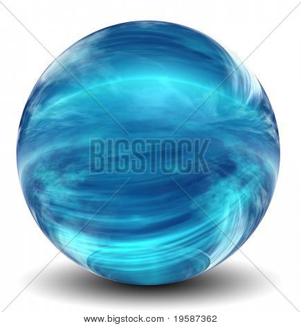 High resolution 3D blue glass sphere with shadow isolated on white, reflecting a sky with clouds