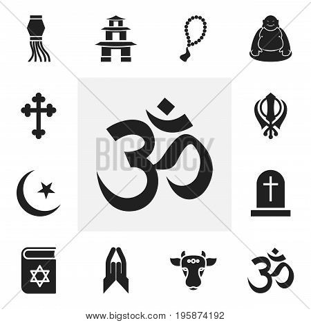 Set Of 12 Editable Faith Icons. Includes Symbols Such As Rosary, Religious Sign, Bible And More