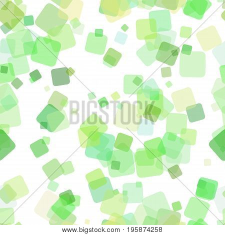 Seamless geometric square background pattern - vector illustration from random rotated squares with opacity effect in green tones