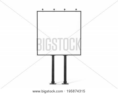 Blank white banner mockup on black city square billboard 3d rendering. Empty bill board mock up isolated. Clear canvas template on sity street sign. Outdoor poster screen. Big cityboard signage stand