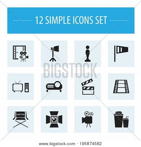 Set Of 12 Editable Filming Icons. Includes Symbols Such As Studio Light, Shooting Seat, Clapper And More