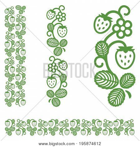 Strawberry berries flowers and leaves. Ornament element